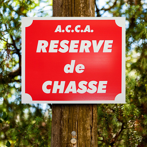 """Panneau """"A.C.C.A - RÉSERVE DE CHASSE"""" en Akilux 30 x 25 cm"""