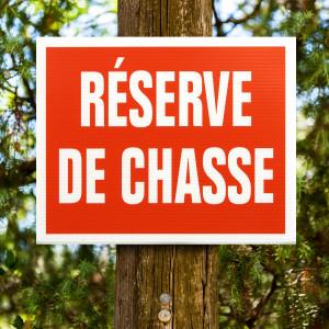 """Panneau """"RESERVE DE CHASSE"""" en Akilux 20 x 25 cm"""