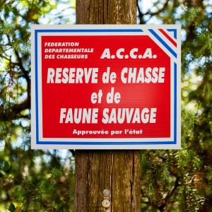 """Panneau """"A.C.C.A. - RESERVE DE CHASSE"""" tricolore en akilux"""