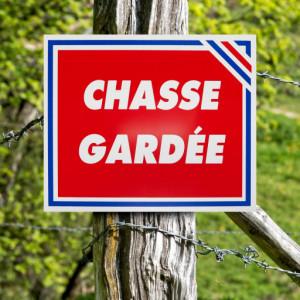 """Panneau """"CHASSE GARDÉE"""" tricolore en aluminium 30 x 25 cm"""