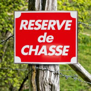 """Panneau """"RÉSERVE DE CHASSE"""" en aluminium 30 x 25 cm"""